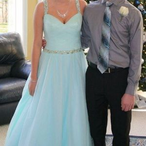 Teal poofy long prom dress